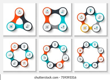 Vector circles infographic set. Template for cycle diagram, graph, presentation and chart. Business concept with 3, 4, 5, 6, 7 and 8 options, parts, steps or processes. Stroke icons.