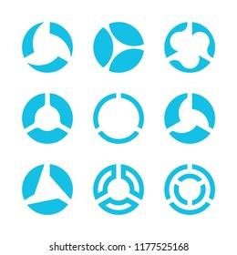 Vector circles with three sectors or segments