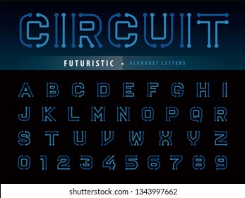 Vector of Circuit Alphabet Letters and numbers, Future Techno stylized fonts, Minimal Futuristic Bold Letters set for sci-fi, Technology, digital, Geometric, military.