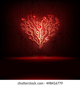Vector circuit board background with heart. Valentine technology business card