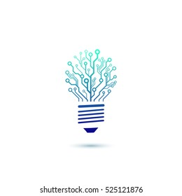 Vector circuit board bulb. A concept of information technology, innovation concept. Creative engineering thinking logo, icon