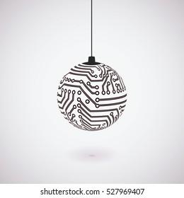Vector circuit board Christmas ball.