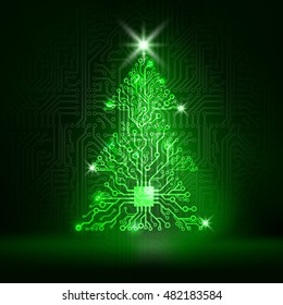 Vector circuit board Christmas tree