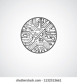 Vector circuit board circle, digital technologies abstraction. Black and white computer microprocessor scheme, futuristic design.