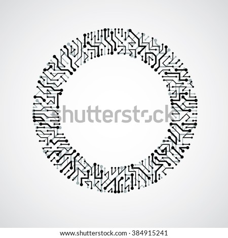 Vector Circuit Board Circle Digital Technologies Stock Vector