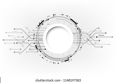 Vector circuit board and communication concept on white background for technology background