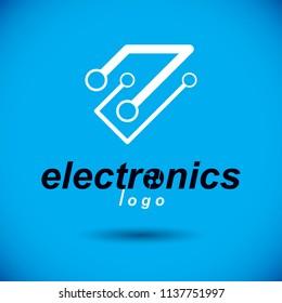 Vector circuit board, digital technologies abstraction. Computer microprocessor scheme, futuristic design. Modern technology communication logo.