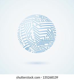 Vector circuit board globe symbol. Business concept.