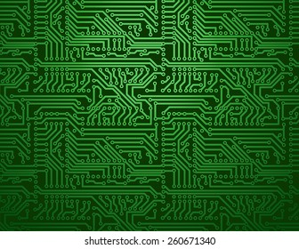 Vector circuit board green background