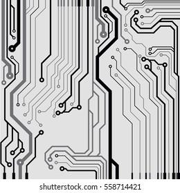Vector circuit board illustration. Colorful flat vector illustration
