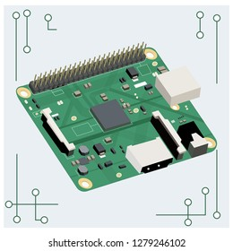Vector circuit board on white background. Microcircuit, electronic board.