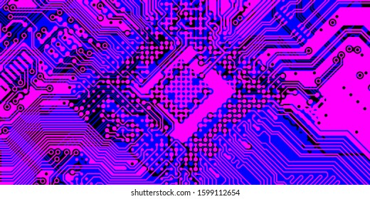 Vector circuit board Pink, purple for layer top and Blue for layer bottom on black background