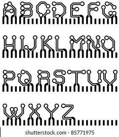 vector circuit board simple alphabet