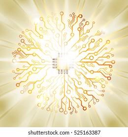 Vector circuit board sun burst. Information technology concept