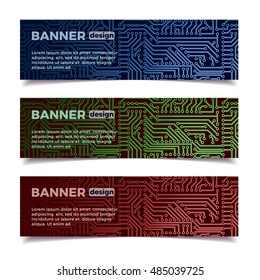 Vector circuit board technology horizontal set of banners