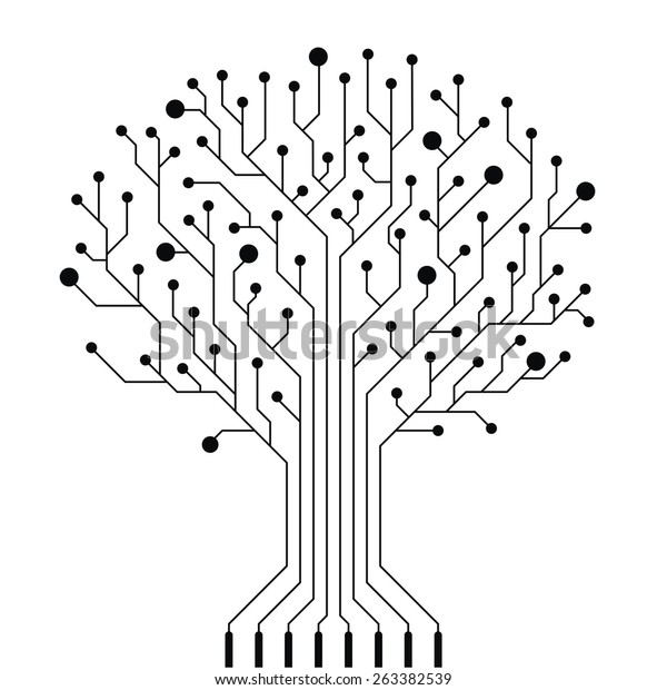 vector circuit board tree stock vector  royalty free  263382539