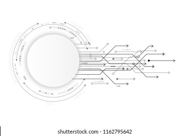 Vector circuit and communication concept on white background for technology background