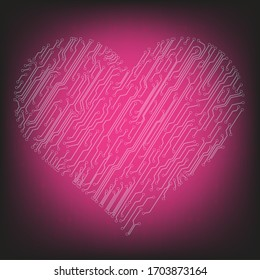 Vector circuit heart. Valentine's colorful technology background illustration. Vector. Eps 10.
