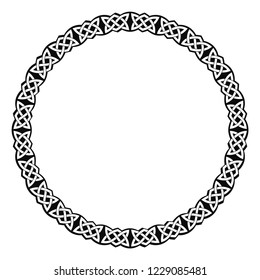 Vector circular frame. Celtic national ornament interlaced ribbon isolated on white background.