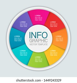 Vector circular infographic diagram, template for business, presentations, web design, 8 options.