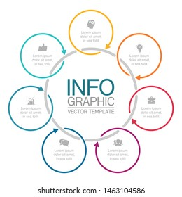 Vector circular infographic diagram, template for business, presentations, web design, 7 options.