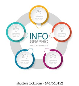 Vector circular infographic diagram, template for business, presentations, web design, 5 options.
