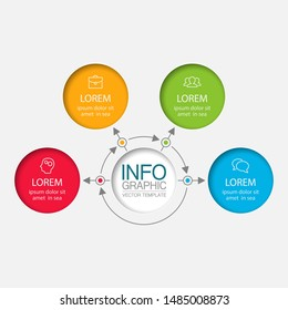 Vector circular infographic diagram, template for business, presentations, web design, 4 options.