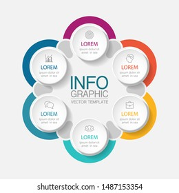 Vector circular infographic diagram, template for business, presentations, web design,6  options.
