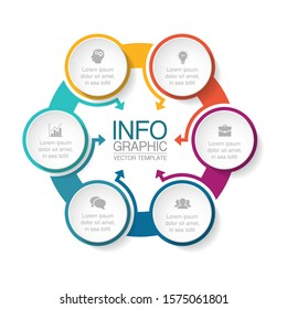 Vector circular infographic diagram, template for business, presentations, web design, 6 options.