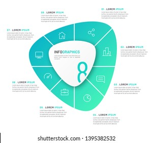 Vector circular infographic template in the form of abstract shape divided by eight parts.