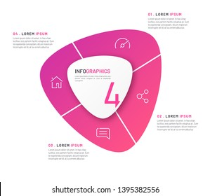 Vector circular infographic template in the form of abstract shape divided by four parts.