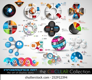 Vector Circular Infographics BIG collection for your graphs, product ranking, items classification, business presentation, high tech flyers or brochures.