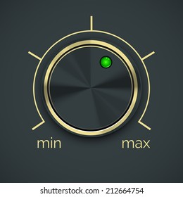 Vector Circular Metal Controller with Green Button  Isolated on Black Background.