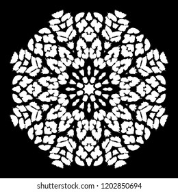 Vector circular pattern with leopard spots, exotic ornament for plate, linen, print, clothes. Round decoration with animal tropical tracery. Hand drawn black and white illustration. Snowflake design