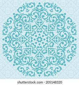 Vector circular turquoise ornament design / snowflake