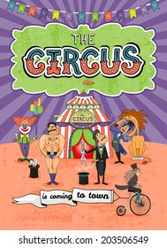Vector circus poster design with various performers in front of the Big Top and a cute monkey riding by on a vintage penny wheeler flying a banner - Is Coming To Town - announcing their arrival
