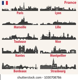 vector cites skylines silhouettes of France