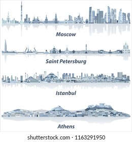 vector cities skylines of Moscow, Saint Petersburg, Istanbul and Athens in soft blue color palette
