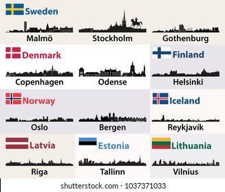 vector cities skylines silhouettes of Scandinavian and North European countries
