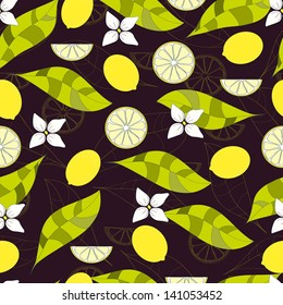 vector citrus seamless pattern with lemon and leaves