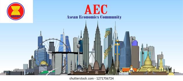 Vector City AEC Asean Economic Community