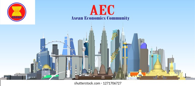 Vector City AEC Asean Economic Community
