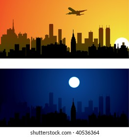 vector city background silhouette architecture illustration