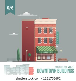 Vector city builder. Downtown buildings