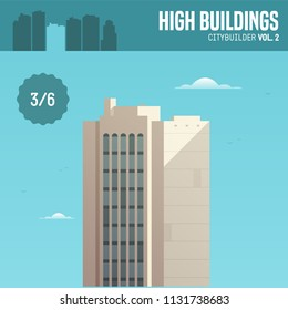 Vector city builder. High buildings