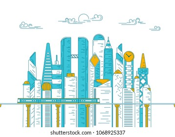 vector of city with building and skytrain, concept of metropolis development, graphic of urban technology for infographic