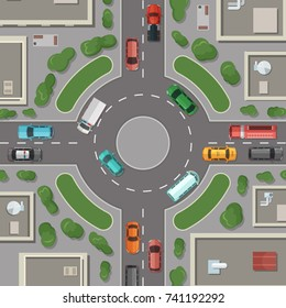 Vector city buildings, roads and cars top view illustration. Road round crossroad, intersection top view street