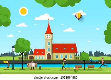 Vector City with Church, River and People in Park. Sunny Summer Day Vector Illustration.