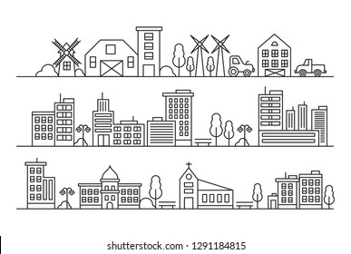 Vector city and Countryside Illustration in Line Style. with churches, mosques, industry and concept of estates
