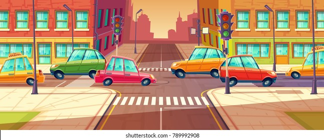Vector city crossroads, traffic jam, transport moving, vehicles navigation. Urban highway, crosswalk with traffic lights. Cartoon illustration